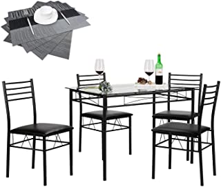 VECELO Dining Table with 4 Chairs [4 Placemats Included,...