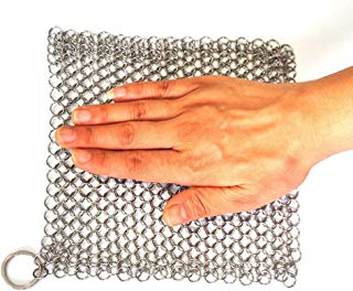 BroilPro Cast Iron Cleaner XL 7x7 Premium Stainless Steel Chainmail Scrubber with Clean Cloth