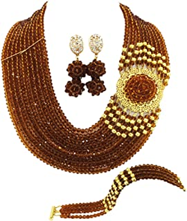 aczuv Crystal Royal Blue Beads Jewelry Set African...
