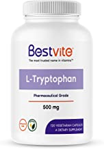 L-Tryptophan 500mg per Capsule (120 Vegetarian Capsules) - No Stearates - No Silica - No Gelatin - Vegan - Gluten Free - N...
