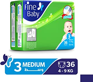 Fine Baby Super Dry - Smart Lock, Medium 4-9 Kgs, Economy Pack, 36 Count