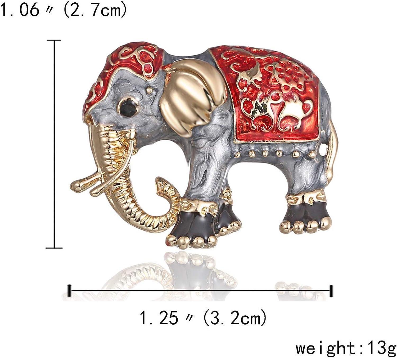 Gold-Legierung Bunte Tasche Tier Ehrennadel Anzug Corsage Accessoires Schmuck AILUOR Damen Emaille-Elefant Brosche