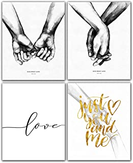 Pinky Promise, Holding Hands Minimalist Abstract Line Drawing Art, Black and White Wall Art for Bedroom and Home Decor, Mo...