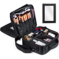 Kootek Travel Makeup Bag Double-Layer Portable Train Cosmetic Case Organizer with Mirror Shoulder...