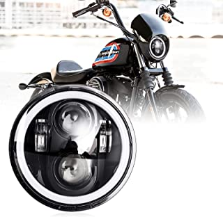Nifeida 5-3/4 5.75 Inch Motorcycle Led Headlight Round Angel Eyes Turn Signal Compatible with Harley Davidson Iron 883 Dyna Sportster Softail Street Bob Super Wide Glide Low Rider Night Rod
