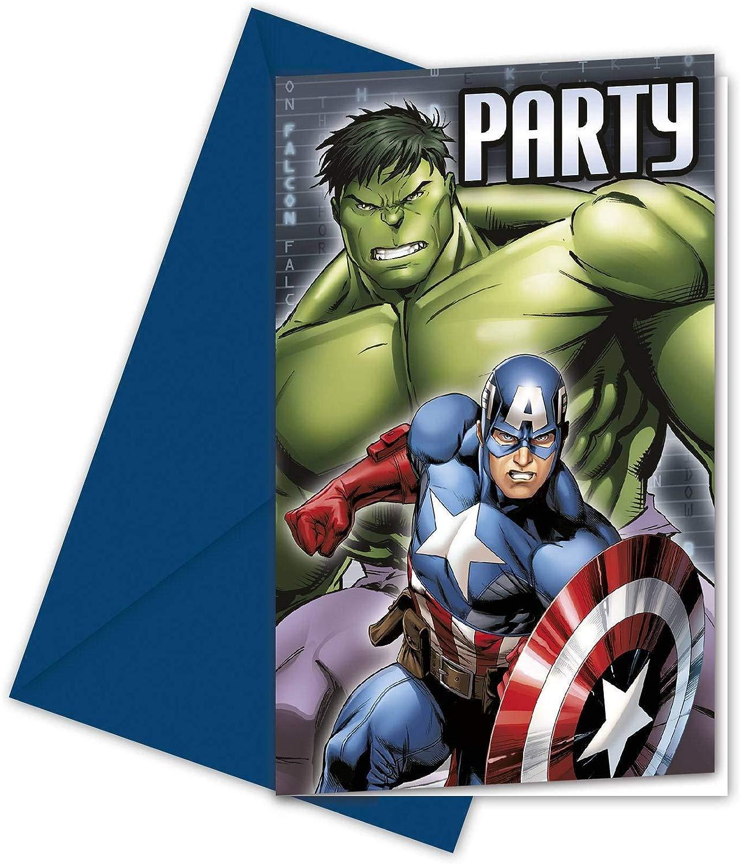 COOLMP Set di 12 – 6 greelietti di invito Avengers – Taglia Unica – Decorazione Accessori per Feste, Animazione, Compleanno, Matrimonio, Eventi, Giocattoli, Ptuttioncino