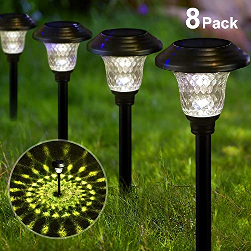 BEAU JARDIN Solar Lights Bright Pathway Outdoor Garden Stake Glass Stainless Steel Waterproof Auto On/Off White Wirel...