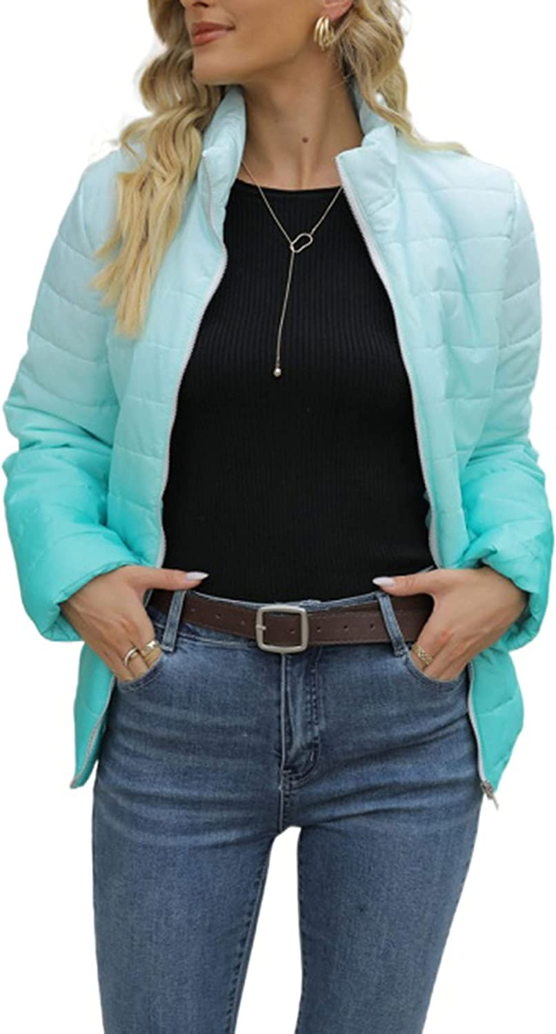 LianLive Womens Ombre Quilted Jacket Winter Stand-up Collar Puffer Padded Outwears