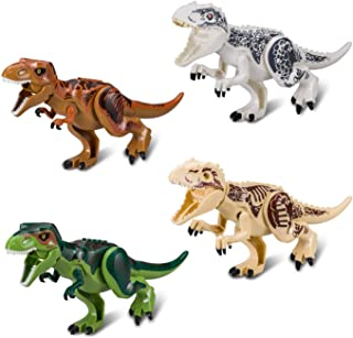 Greshare 4 Sets Large Size Lifelike Multicoloured 3D Jigsaw Puzzles T-Rex Dinosaur Building Blocks for Children