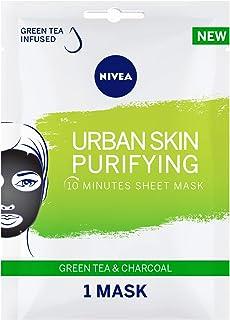 NIVEA Urban Skin Purifying Face Sheet Mask, Gree Tea & Charcoal, 1 Mask