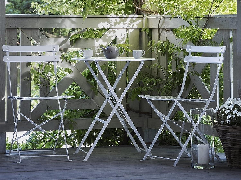 Beliani Tisch und 2 Gartenstühle, Stahl, Wei