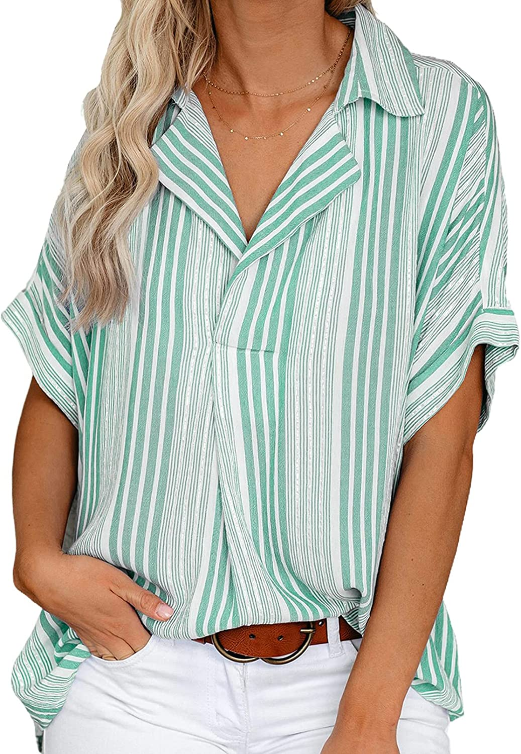 GOSOPIN Sale Special Price Womens V Neck Striped Roll Cuffed Button Down Memphis Mall Sleeve Up