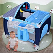 Costzon Baby Playard, 3 in 1 Multifunction Foldable Reversible Napper and Changer for Boys & Girls, Travel Infant Bassinet Bed with Music, Detachable Mat, Awning, Mosquito Net, Storage Bag (Blue)