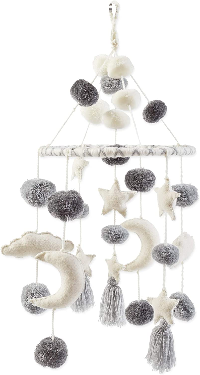 Mud Pie Pom Pom Stars and Clouds Celestial Crib Mobile - White and Grey, White Grey