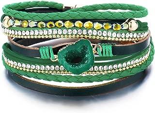 Multi-Layered Leather Wrap Bracelet - Handmade Boho Wrap Charm Bracelet Cuff Bangle Wrap Around Bracelet with Magnetic Buckle Fashion Gift for Women, Girls
