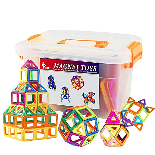 GLOUE Magnetic Blocks Building BlocksMagnetic Toy Contain Square Triangle Large