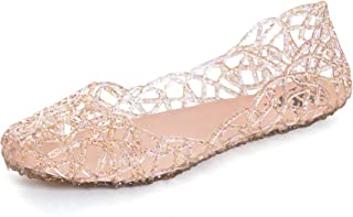 Hee grand Womens Summer Jelly Shoes Ballet Flats Slip On Hollow Out Loafers Bird Nest Mesh Sandals