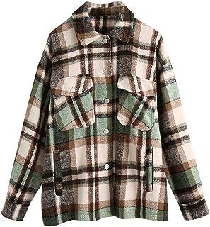 Sponsored Ad - Haellun Women's Button Down Long Sleeve Plaid Wool Blend Shirt Jacket Shackets