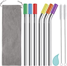 Reusable Boba Straws and Smoothie Straws with Silicone Tips, 12mm/0.5