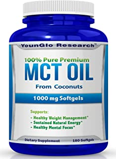 MCT Oil Capsules 100% from Coconuts - 1000 mg 180 Softgels - Keto Friendly - Great Pills for Energy and Weight Management ...