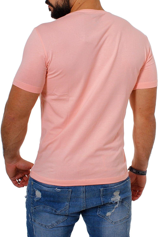 Young&Rich / Rerock Herren Uni T-Shirt mit extra tiefem V-Ausschnitt Slimfit deep V-Neck Stretch dehnbar Einfarbiges Basic Shirt Rosa