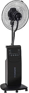Ventilateur brumisateur sur roulettes - oscillant silencieux 90 W avec télécommande - minuterie 3 modes 3 vitesses - noir