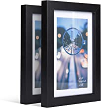 iDecorlife Premium 4x6 Black Picture Frames 2PCs - 3x5 Picture Frame with Mat or 4x6 Picture Frame Without Mat - Real Wood Photo Frame for Table Top Display wtih Wall Mounting Ready