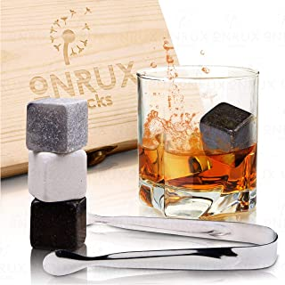 Premium Granite Whiskey Stones - Gift Set for Chilling Drinks - Set of 9 Dark Drink Chilling Cubes for Scotch, Whiskey, Irish, and Wine Drinks - Nice Ice Stones Gift Idea for Drinking Enthusiast