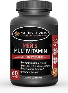 Me First Living Men's Daily Multivitamin/Multimineral with Vitamins A, C, E, D, B1, B2, B3, B5, B6, B12, Magnesium, Biotin...