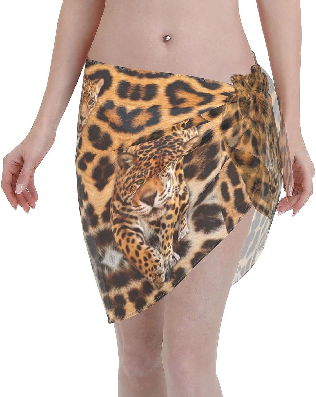Reindeer Horn Women Short Leopard Stripes Sarongs Cover Ups Beach Chiffon Sarong Bikini Swimwear Black