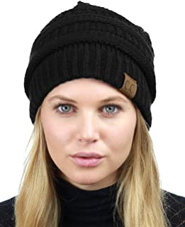 deaae230880 C.C Unisex Chunky Soft Stretch Cable Knit Warm Fuzzy Lined Skully Beanie