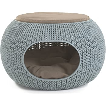 "Keter 22.7 "" x 22.3 "" x 13 "" KNIT Cozy Luxury Lounge Bed & Pet Home with Cushions, Small to Medium"