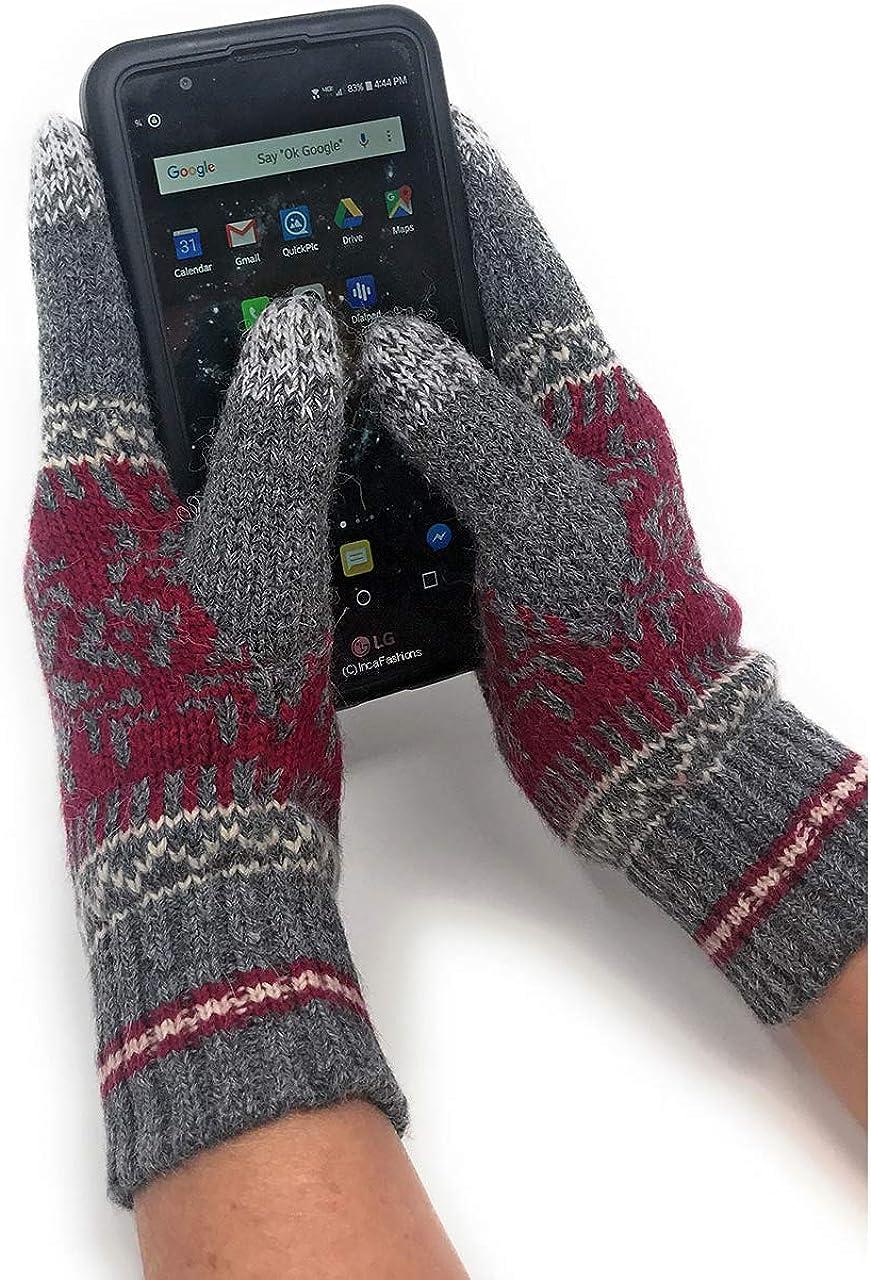 Alpaca Wool Women's Conductive Touchscreen Texting Gloves - Nordic Pattern - Soft & Warm