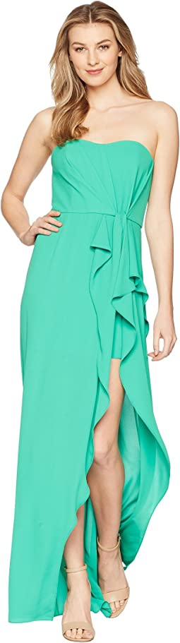 Strapless Ruffle Front Gown