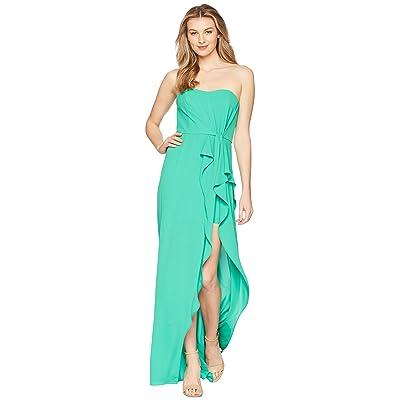 Halston Heritage Strapless Ruffle Front Gown (Jade) Women