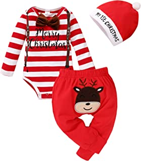 SEVEN YOUNG My 1st Christmas Outfits Infant Baby Boys Xmas Stripe Rompers+Deer Pant Set Bodysuit Fall Clothes