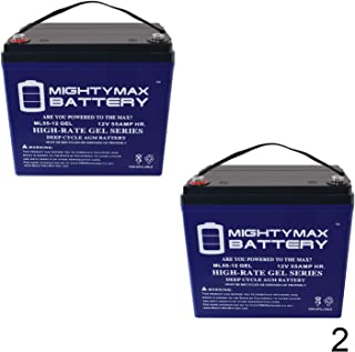 Mighty Max Battery 12V 55AH Gel Battery for Jazzy 1101,1105,1120,1121,1122,1133-2 Pack Brand Product