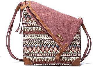 Brenice Retro Segeltuch Tasche, Brenice Damen Vintage Umhängetasche Echtes Leder Canvas Schultertasche Tribal Rucksack Messenger Tasche Weinrot