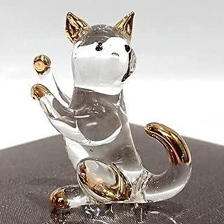 Sansukjai Cat Miniature Figurines Animals Hand Blown Glass Art 22k Gold Trim Collectible Gift Decorate, Clear Gold