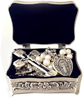 elegantmedical Stations of The Cross Prayer Rosary Real White Pearl Beads Necklace Catholic Gifts Box