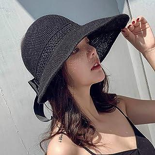 MEETGG Sombrero para el Sol Paja Visera De Las Mujeres UPF 50+ Enrollar Plegable ala Ancha Playa Sombrero de Viaje Cola de Caballo Enrollable Y Ajustable