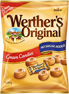 Werther's Original Cream Candies No Sugar Added Bag, Irresistible Cream and Caramel Flavours with Lower Sugar, 60 g