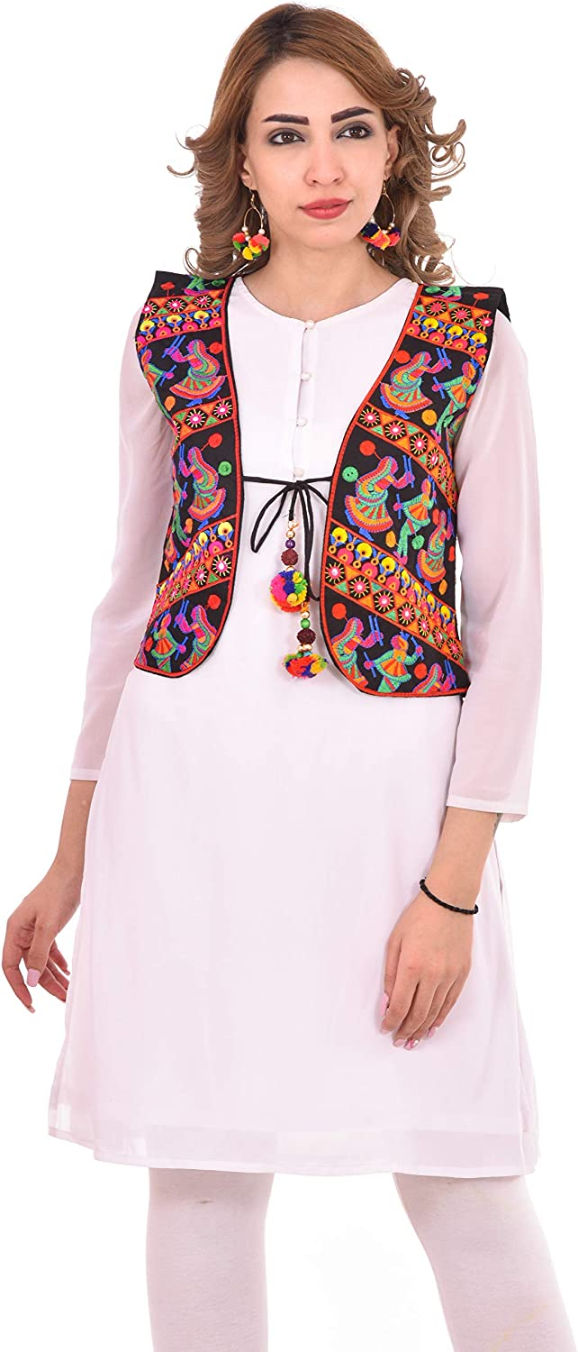 Craft Trade Embroidered Kutchi Jacket for Women Cotton Traditional Short Choli Koti Girls Indian Wear (Bust Size: 36