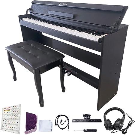 CEULA 電子ピアノ ブルートゥース 88鍵 グレードハンマーアクション 128音ポリフォニー 3鍵盤 3本ペダル/スタンド/アダプター付 2人掛けイス 収納付 高機能内臓 日本語説明書【PSE認証済】【12ヶ月保証】 (ブラックセット)