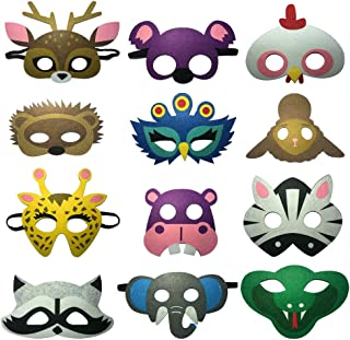 12pcs Wild Animals Felt Half Mask Set Kids Woodland Party Favors