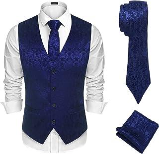 Men's Paisley Suit Vest Floral Jacquard Satin Classic Tuxedo Waistcoat & Tie & Square 3pcs Set Suit Vests