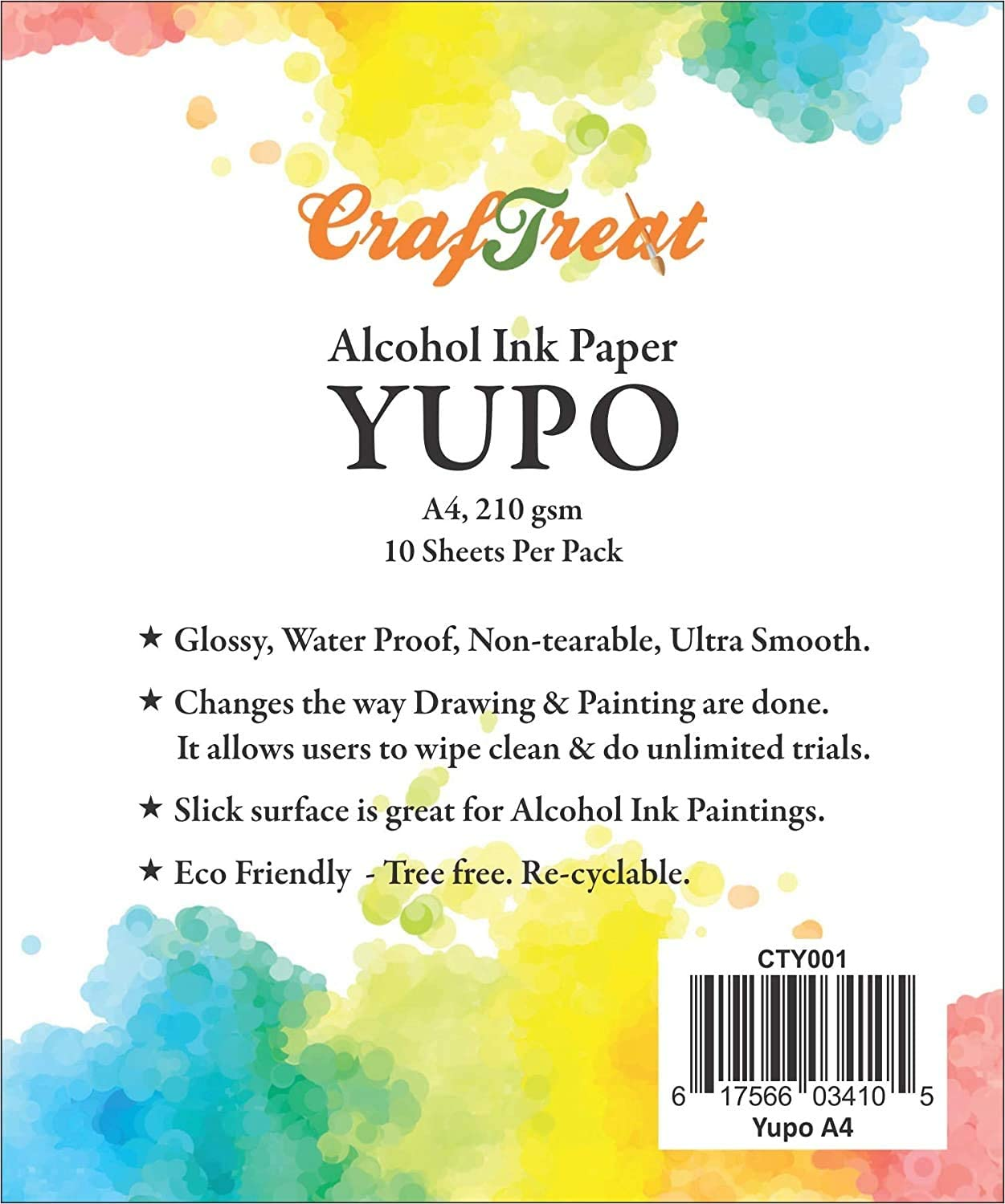 CrafTreat Max 64% OFF Yupo Paper for Alcohol Ink Very popular! Sheets - Pack 210 A4-10 Per