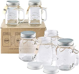 Set of 6 x 16oz Mason Jar Mugs with Lids, Great Mason Jar Old Fashioned Glasses. Summer and Holiday Drinking Glass. Perfect for parties, Overnight Oats, Giveaways for Weddings | Smith's Mason Jars