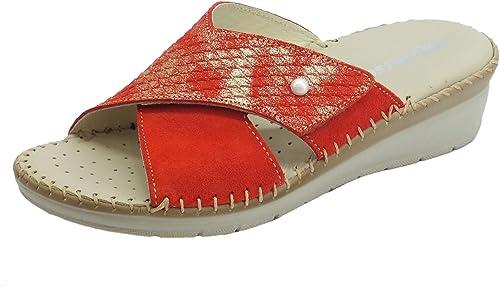 Melluso - Chanclas para damen de Piel y Nobuk Coral con Ajuste de Velcro