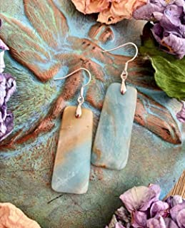 Natural Amazonite Dangling Earrings   Stainless Steel Hook Earrings   Natural Stone Earrings   Xmas Gift Ideas   Holiday Favorites